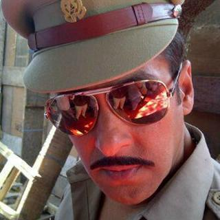 Salman Khan on the sets of Dabangg 2