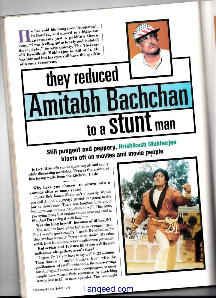 Blast from the Past - Hrishikesh Mukherjee Interview: They reduced Amitabh Bachchan to a stunt man.