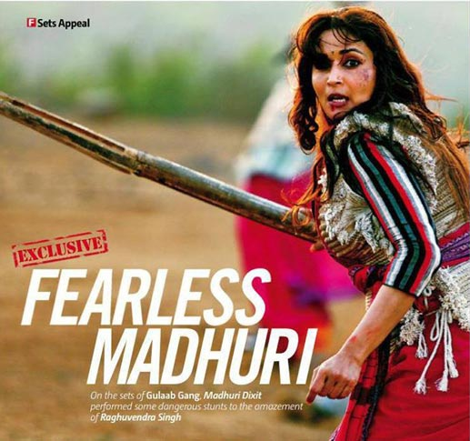 First Look Pictures of Madhuri Dixit from Sets of Gulaab Gang