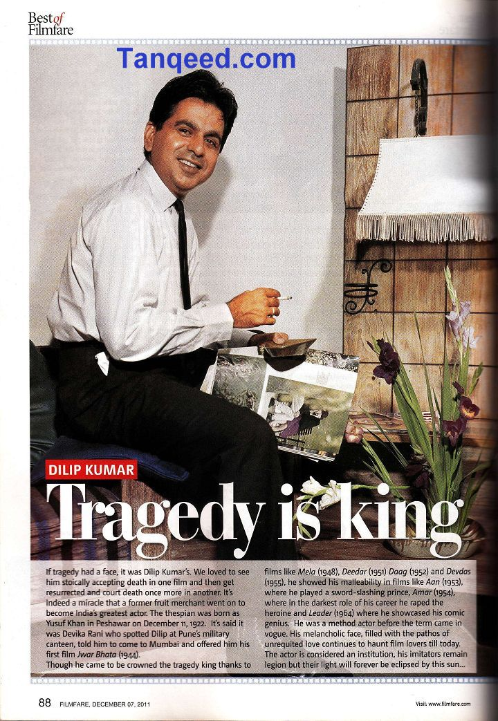 Filmfare Article on Dilip Kumar from 2011