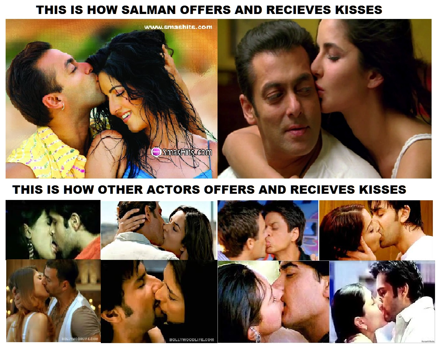HOW DOES SALMAN KISS AND HOW OTHER ACTORS KISS