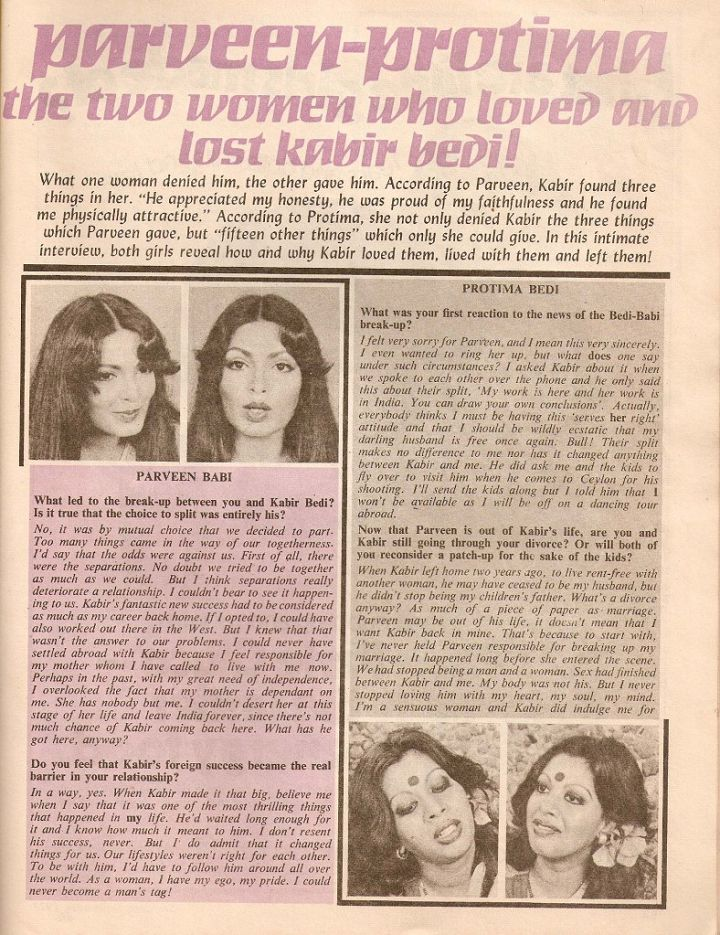 Blast from the Past: Parveen Babi and Protima Bedi's Interview about Kabir Bedi