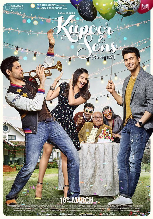 First Look Poster of Kapoor & Sons starring Sidharth Malhotra, Alia Bhatt, Fawad Khan, Rishi Kapoor
